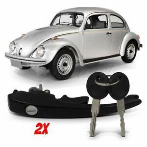 VW BEETLE BUG SET 2pcs EXTERNAL DOOR HANDLE OUTER BLACK Type 1 T1 T3 1959-1977