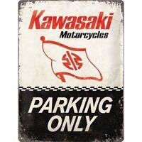 Kawasaki Motorrad Parking Only Nostalgie Blechschild 40 cm NEU  shield