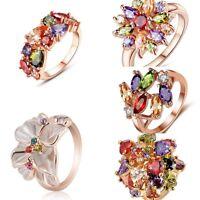 Fashion Women 18K Rose Gold Jewelry Filled Wedding Engagement Crystal Ring