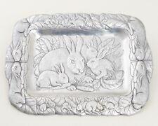 "Arthur Court Aluminum Bunnies Serving Platter Rectangular Tray 18"" Bunny Rabbits"