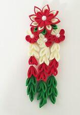 Bridal Japanese Kanzashi Flower Hair Alligator Clip in White, Red, Green ribbon