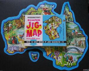 Waddingtons Jig-Map jigsaw puzzle - Australia with box jigmap COMPLETE #C1