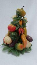 vtg plastic Christmas salsa tree mid century festive peppers onions and garlic