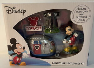 NEW Disney Mickey Mouse 4 Piece Miniature Fairy Garden RV Camper Statuary Set