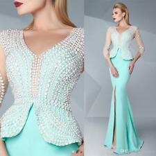 2017 New Evening Dresses Blue Satin Long 3/4 Sleeve Split Prom Gowns Custom