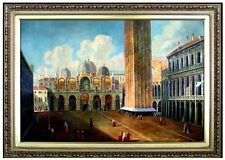 Framed Hand Painted Oil Painting Repro Canaletto Cathedral Plaza 24x36in