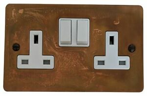 G&H FTC10W Flat Plate Tarnished Copper 2 Gang Double 13A Switched Plug Socket