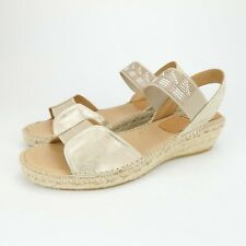 KANNA Gold Beaded Espadrille Wedge Slingback Sandals Leather Size 37 EUR 6.5
