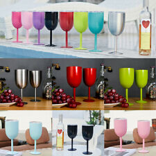 10oz Wine Glasses Goblet Double Wall Metal Cup+Lid  Insulated Mug Xmas Party