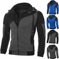 Mens Warm Fleece Hoodie With Thermal Lined Hood Jacket Sweatshirt Zip Outerwear