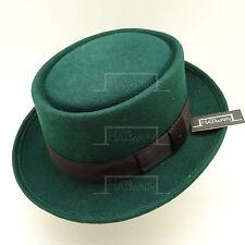 VINTAGE Wool Felt Pork Pie Flat Top Hat Men Gentlemen Unisex | 57cm | Green