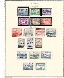 Iceland Scandinavia 1934-1959 Airmail Page