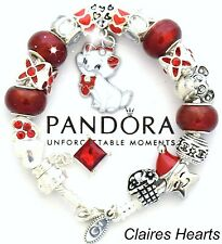 Pandora Silver Bracelet CUTE KITTY Christmas Red Pugster European Charms New