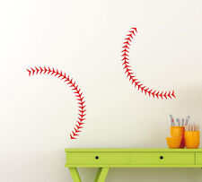 "Set Of 2 Baseball Stitches Wall Decal 34x14"" Each Vinyl Sticker Home Decor 140gy"