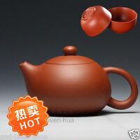 tea pot with 2 cups Chinese purple clay red stoneware xishi pot kungfu tea set