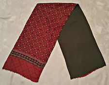 SCARF VINTAGE AUTHENTIC GEOMETRIC ART RHOMBUS SILK WOOL RED LONG MEN'S DOUBLE