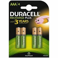 4 x Duracell Recharge Plus AAA Rechargeable Batteries StayCharged 750mAh NiMH
