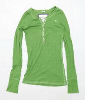 Abercrombie & Fitch Womens Size L Cotton Blend Green Long Sleeve T-Shirt (Regula