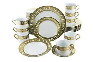 40 Piece Ceramic Gold Greek Key Dinnerware Set