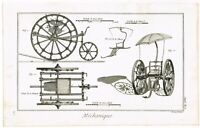 ANTIQUE PRINT VINTAGE 1777 COPPER PLATE DIDEROT ENGINEERING CART BERNARD DIREX
