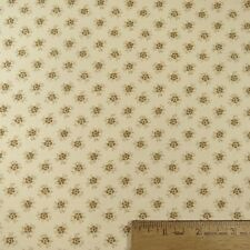 100% Cotton Quilt Sewing Small Brown Flowers on Beige  - 1 yd.
