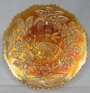 "Fenton Peacock & Urn Marigold Plate 9 1/4"""