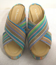 CL by Laundry Drama Wedge Sandals NWOB 7M Turquoise Multi-color