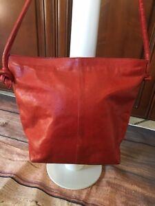 FURLA Red Leather Hobo Style Shoulder Handbag Knotting Design SEE DETAILS