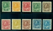 CANADA #104//117 Geo. V Issue, 10 diff lower values, all LH, VF Scott $290.00