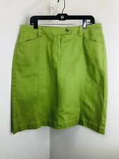 Talbots Women's Green Jean Skirt Size 14 W Two Pockets In The Front