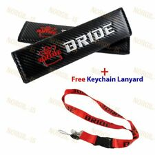JDM BRIDE Carbon Look Embroidery Seat Belt Cover Shoulder Pads + Free Keychain