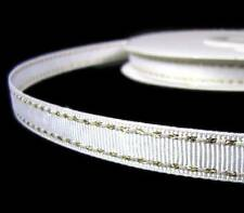 "2 Yds Metallic Gold Side Saddle Stitched White Grosgrain Ribbon 3/8""W"