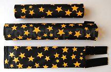FLITE old school BMX bicycle padset foam racing pads STARS - BLACK & YELLOW