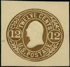 #U68 Xf+ Unused Cut Square 12¢ Brown On Buff Cv $325.00 Bp8558