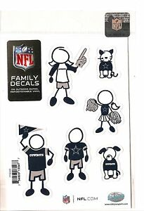 Dallas Cowboys Family Decals Set of 6 Individual Small Decals for Car Auto