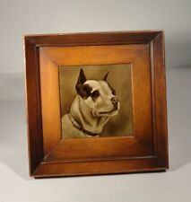 Antique Vintage Sepia Dog Pit Terrier Painted Tile Sherwins Patent Artist Signed