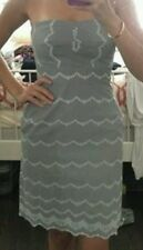 $128 J.CREW broderie Dress size 12 grey -MINT- bandeau knee length