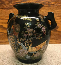 Ceramic Painted Peacocks Flowers Black Two Handled Oriental Vase Urn Enameled