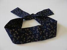 "Japanese 37/""L Headband Hachimaki Kanji Fish Character Cotton Navy Blue"