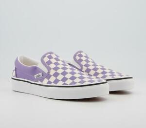 Vans Classic Slip On Trainer Checkerboad Violet True White UK 5 Brand New In Box
