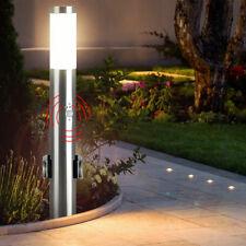 Acero Inox. Lámpara de Pie Plata Sensor Movimiento Jardín Exterior 2x Enchufes