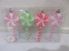 """(4) Christmas Holiday Sugar Candy Lollipops 5"""" Pastel Ornaments"""