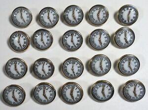 """20 Vtg 1970s JHB International Glass Festive Novelty BUTTONS 3/4"""" Five O'clock"""