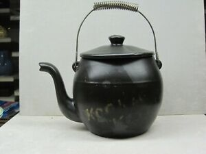 Vintage McCoy Ceramic Kookie Kettle Black Cookie Jar