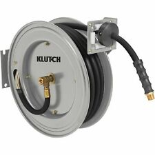 Klutch Auto Rewind Air Hose Reel - With 3/8in. x 50ft. Rubber Hose, 300 PSI