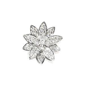 Van Cleef & Arpels White Gold Lotus Clip Pendant Medium Model Diamond