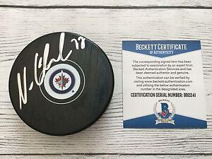 Nikolaj Ehlers Signed Autographed Winnipeg Jets Hockey Puck Beckett BAS COA d