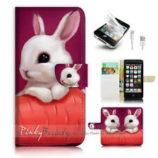 ( For iPhone 5 / 5S / SE ) Wallet Case Cover! P1247 Bunny