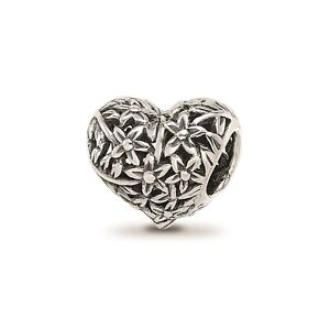 Reflection Beads Sterling Silver Antiqued Floral Filigree Flowers Heart Bead