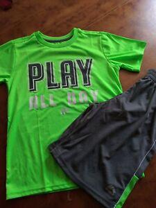 RBX Active Boys 2 Piece Short Sleeve T-Shirt & Shorts Set Navy/ orange  Size 8
